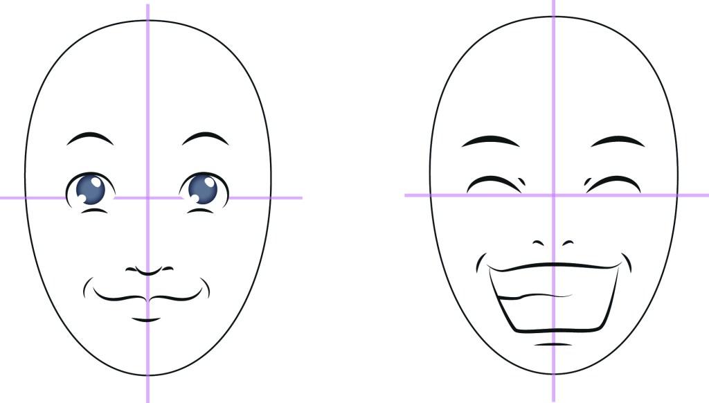 Rita ett ansikte - ansiktsuttryck glad
