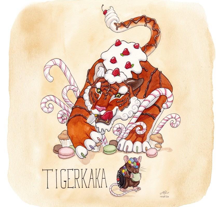tigerkaka illustration ordvits