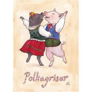 Bokstavligt målat vykort polkagris