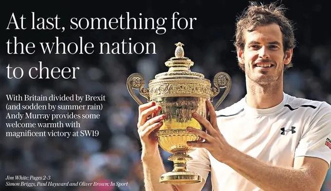 Murray, Murray, Murray. Há um nome que domina as primeiras páginas no Reino Unido