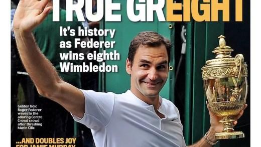 Federer escarrapachado em (praticamente) todos os jornais britânicos