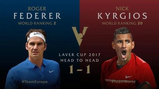 Acompanhe o decisivo duelo entre Federer e Kyrgios na Laver Cup