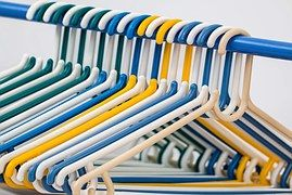 Multi colored plastic hangers