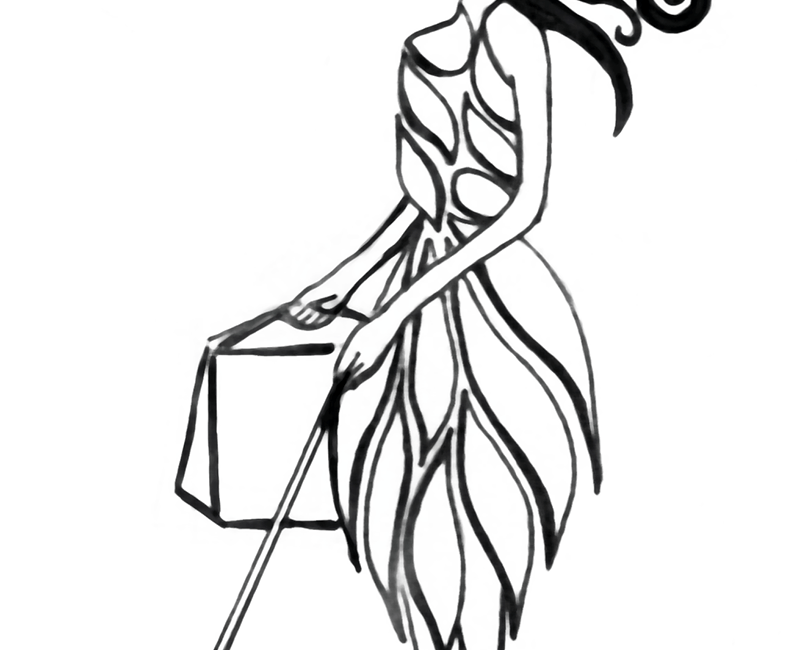 Stylish Icon is black and white line drawing. The leaves of the dress are not solid black.