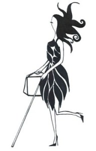 This reverse of the original image of the icon has on a black dress, she is carrying her shopping bag in her right hand and has her cane in her left hand.
