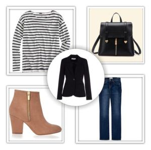 Outfit #1 - Black Blazer, Black & White Striped Tee, Blue Jeans, Black Bag & Camel Ankle Boots