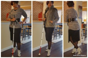 Outfit #1 - (Tri-photo collage) Black dress with gray boots