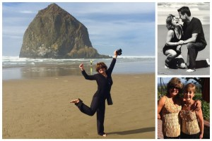 Collage of Kimberly at the beach (Oregon coast) mugging for the camera. 2) Kimberly & her husband at Cannon Beach, OR and Cork tops created - Kimbely & Sheila Blakeslee [owner of Blakeslee Vineyard]