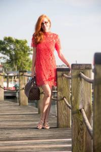 The second outfit is an orange lace sheath dress by Zara with a high collar, and nude wedge sandals by SOFFT. Louis Vuitton Speedy checked bag.