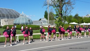 Cheerleaders at the finish line
