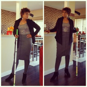 Two images of me standing & posing with my white cane