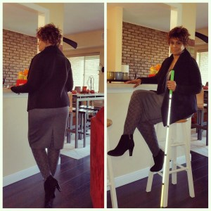 To images of me posing (one seated the other standing) with my white cane.