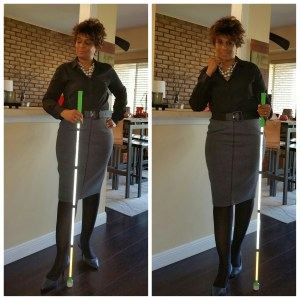 Two images of me standing with my white cane.