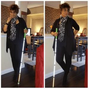 Two standing poses with my white cane.