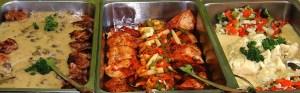 Three hot buffet dishes