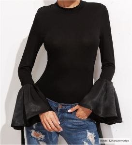 photo of SheIn model wearing the bell-sleeves top