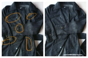 Denim trench coat. Description is in the body of the post.