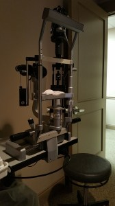 Slit lamp at the ophthalmologist office.