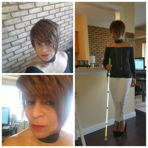 Collage of two selfies and a standing pose with my white cane.
