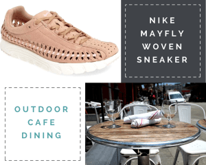 "Collage: 1) Arctic pink (nude) sneaker 2) ""Nike Mayfly Woven Sneaker"" 3) ""Outdoor Cafe Dining"" 4) image of a round dining table with chairs at an outdoor cafe."