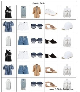 30 square grid with 3 tops (shown twice for 6 total) vertically. Row 1 tank top, denim skirt, blazer, sneakers, handbag; Row 2 off shoulder top, white shorts, sunglasses, nude sandals, ball cap; Row 3 halter top, blue shorts, sunglasses, black sandals, handbag; Row 4 tank top, white shorts, sunglasses, black sandals, ball cap; Row 5 off shoulder top, blue shorts, blazer, nude sandals, handbag, Row 6 halter top, midi skirt, sunglasses, nude sandals, handbag.