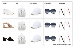 15 square grid with 3 pairs of shoes shown vertically and next to each shoe is the handbag, ball cap, sunglasses and white cane.
