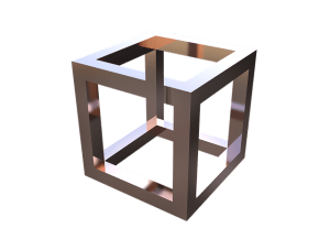 Optical illusion of a 3-dimensional hollow crate.
