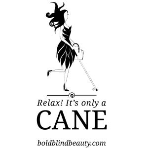 "Abby is directly above the slogan ""Relax! It's Only A Cane."""