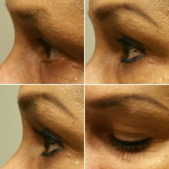 4-panel collage close up of left eyelashes. Described in the post.