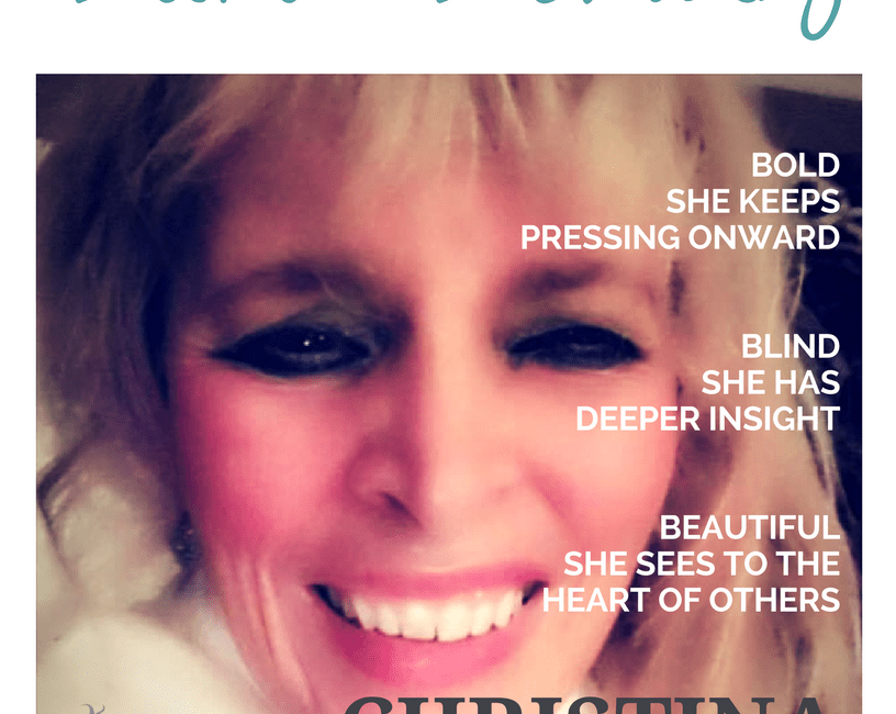 Blind Beauty, the mock fashion magazine cover, is the featured image.Christina's 1000 watt smile lights up the photo. Complete description is in the body of the post.