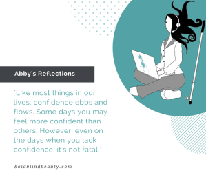 Abby's confidence quote text and image description are in the body of the post.
