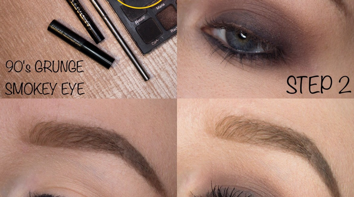 4 Tips Makeup application featured image description: a collage of four photos. Top left: Clinique High Impact Mascara, Kat Von D Basket Case Anti-Precision Eyeliner, Violet Voss Ride or Die Palette with the shade Skylar circled (a cool-toned medium brown), and a fluffy eyeshadow brush with text saying '90's GRUNGE SMOKEY EYE'. Bottom Left: Step 1, applying the black eyeliner. Top Right: Step 2, applying the brown eyeshadow. Bottom Right: Step 3, applying the black mascara.