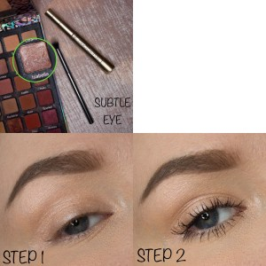 Image description: a collage of three photos. Top Left: L'Oreal Telescopic Mascara, Violet Voss Ride or Die Palette with the shade Isabella circled (a pale shimmery pink), and a fluffy eyeshadow brush with text saying 'SUBTLE EYE'. Bottom Left: Step 1, applying the pink eyeshadow. Bottom Right: Step 2, applying the black mascara.