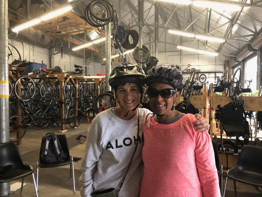 Becky Andrews and me posing in the bike shed.