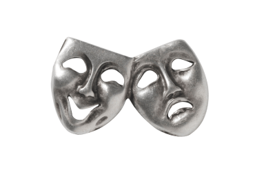 Silver Comedy & Tragedy masks on a white background