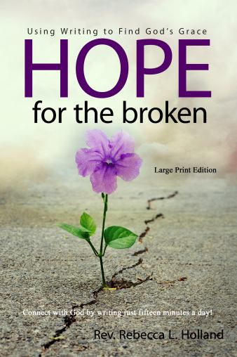 The cover of the book depicts a purple flower blooming from the cracked earth. The title Hope for the Broken: Using Writing to Find God's Grace, is written in purple letters.