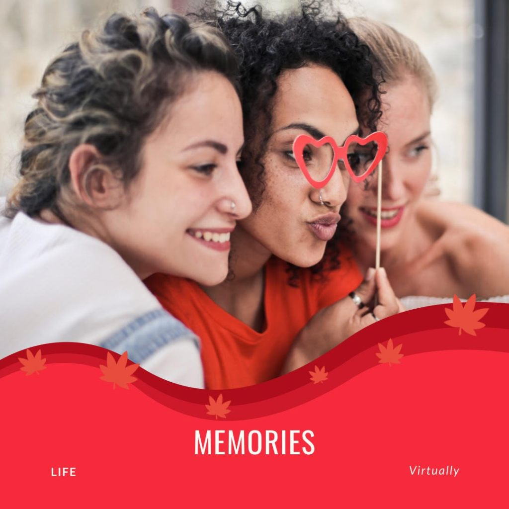 """""""Memories Life Virtually"""" is a photo of three young women hamming it up for a selfie."""