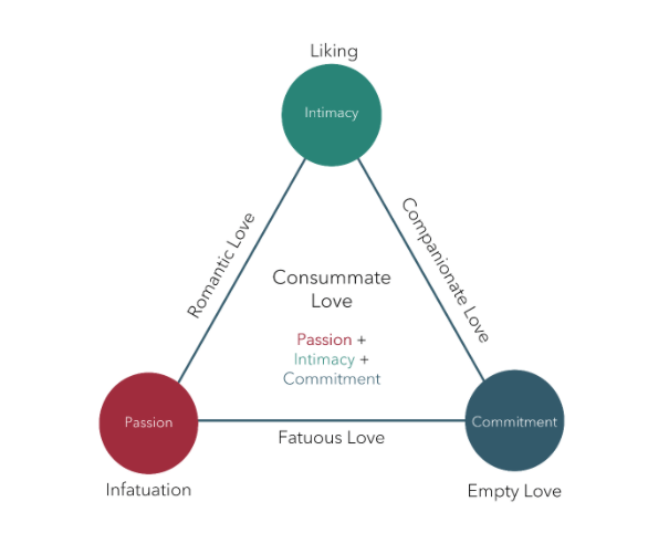 Sternberg's Triangle Theory of Love. Triangle corners are labeled Intimacy (Liking), Commitment (Empty Love) and Passion (Infatuation). Triangle sides indicate the type of love. The side between Intimacy and Commitment is Companionate Love. Commitment and Passion is Fatuous Love, and Passion and Intimacy is Romantic Love. The center of the diagram reads Consummate Love, Passion plus Intimacy plus Commitment.
