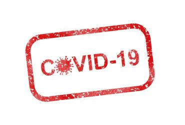 Image of a red Covid-19 stamp enclosed in a square border with round corners