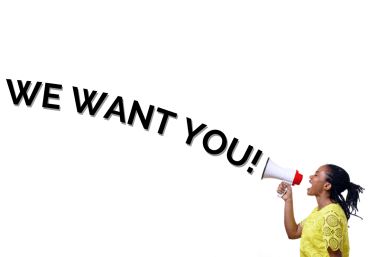 """A Call For Audio Description Narrators: Profile view of an African American woman shouting at a megaphone while standing against a white background. Large text appearing to come from the megaphone reads """"WE WANT YOU!"""""""