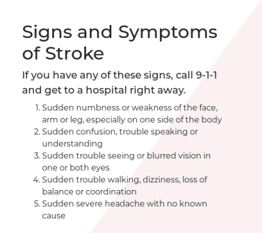 February American Heart Month signs of a stroke