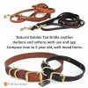 tan leather new vs aged 1 - Leather Martingale Collar - chain and leather adjustable limited slip