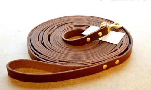 Leather Tracking Lead - a LONG premium leather dog leash