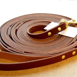 Leather Tracking Lead - a LONG premium leather dog leash