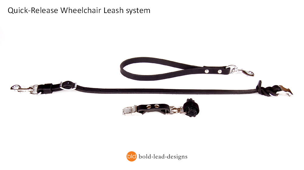 Wheelchair Dog Leash with quick release buckle