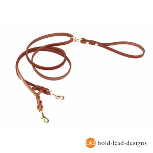 2 point featured image - Two-Point Lead: a double-ended leather leash for walking harnesses