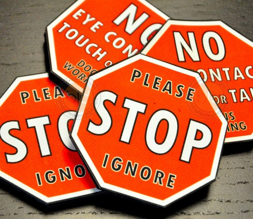 STOP Sign Leash Wrap - double sided vinyl badge