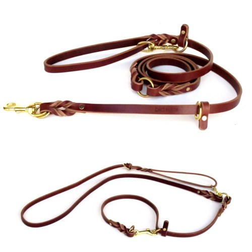 bld BASICS Leather Multi Lead 7 ft. 12 position hands free leash - BASICS - Leather Multi-Lead - 7 foot double-ended dog leash