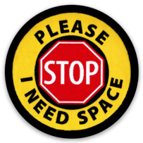 "STOP ""I Need Space"" button or sticker - 6 Pk. Stickers"