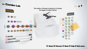 A look at the combo lab where you unlock pressens and form combos.